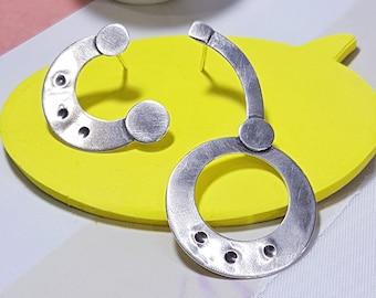 asymmetrical earrings, statement earrings, contemporary, modern, sterling silver, one of a kind, large earrings, mismatched earrings, OOAK