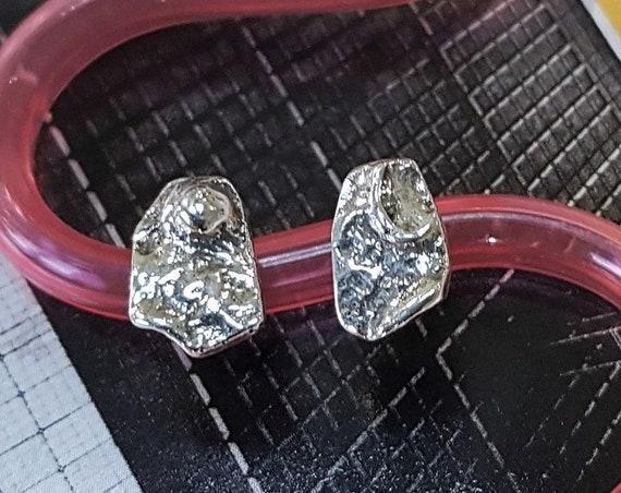 unique stud earrings   mismatched earrings   sterling silver studs   art jewelry