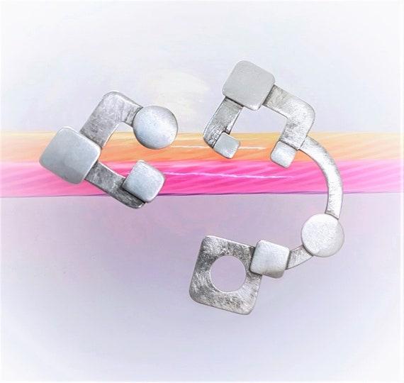 asymmetrical earrings   geometric earrings    sterling silver   one of a kind