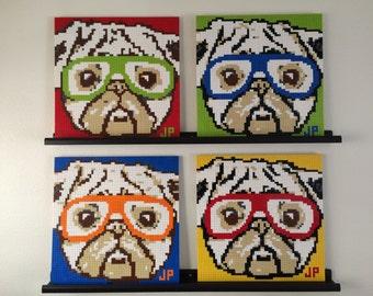 LEGO mosaic of pug wearing glasses/sunglasses