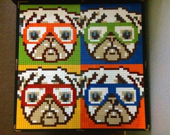 LEGO mosaic of pugs wearing glasses (small version)