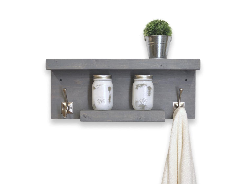 Two Tier Floating Bathroom Shelf 2 Hooks