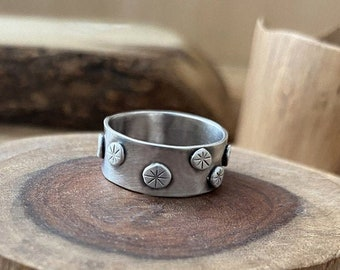 Unisex Boho Ring Handmade Ring From Sterling Silver Tribal Unisex Ring Oxidized Band Ring