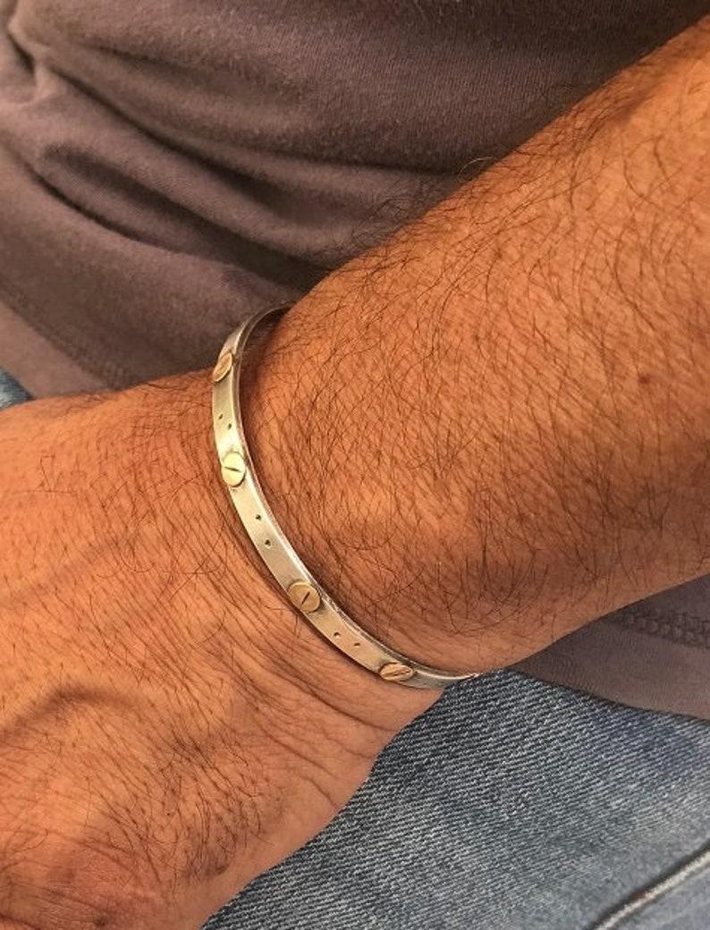 Open Cuff For Man Mixed Metals Bracelet Handmade Men/'s Jewelry Men/'s Silver Cuff