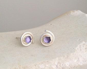 Spiral Studs Earrings , Spiral Post Earrings , Gems studs , Dainty studs , Sterling silver studs , Gift Under 30