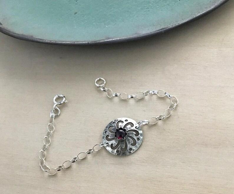 Sterling Silver Bracelet Handmade Chain Bracelet Garnet  Bracelet