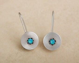 Circle earrings , Opal earrings , Blue Green Opal , Sterling silver , Everyday earrings