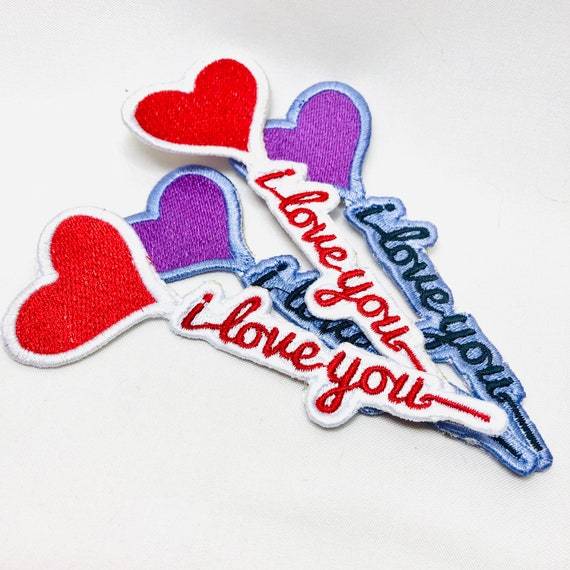 I Love You Balloon Heart embroidered patch