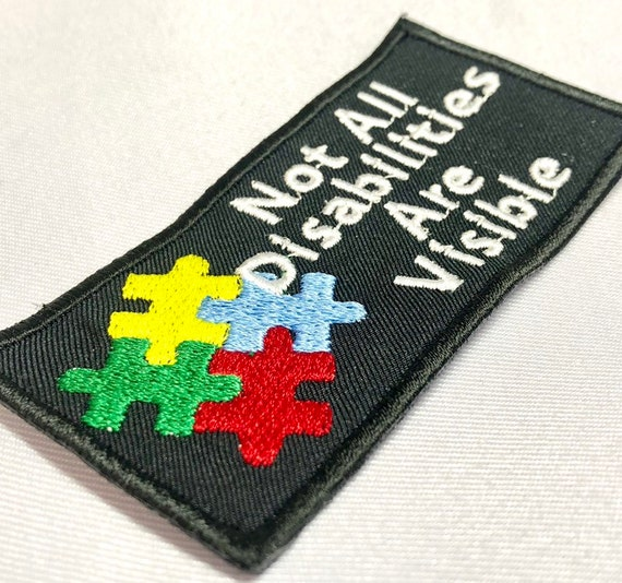 """Autism Puzzle Piece Mixed Color """"Not All Disabilities Are Visible"""" 2""""x4"""" rectangle Sew On Patch"""