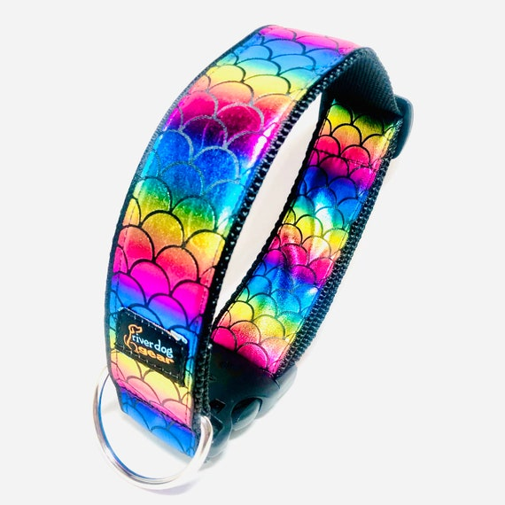 """Holographic Scales Dog Collar 1.5"""" wide - 4 colors available"""