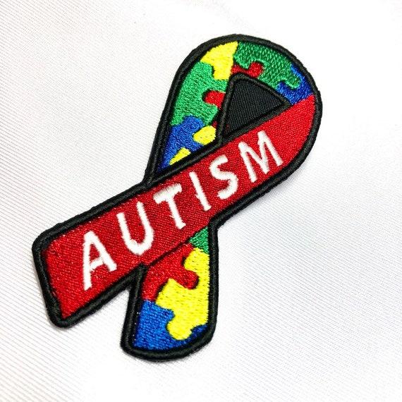 "Autism Puzzle Ribbon Custom Sew on Patch 2""x4""."