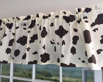 Cow Print Valance Brown Spots On Cream Background 66 Inches Wide