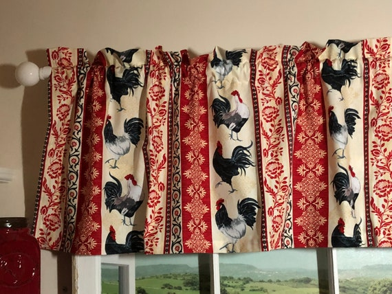 Country Roosters On Red Kitchen Valance 42 Inches Wide