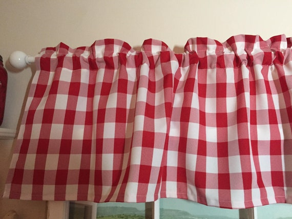 Red And White Checkered Kitchen Valance 58 Inches Wide
