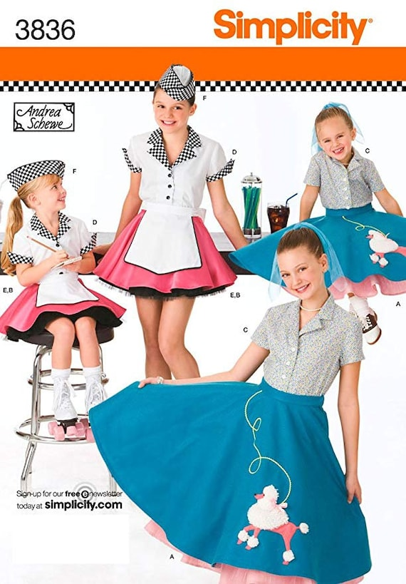 Simplicity Sewing Pattern Poodle Skirt 3836 Child And Girl Etsy