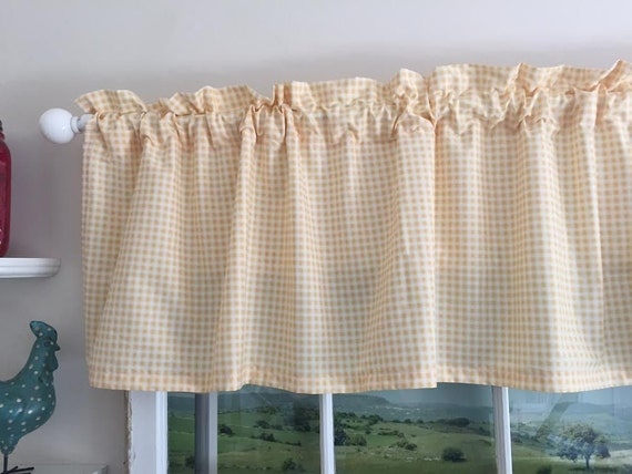 Yellow Gingham Kitchen Valance 63 Inches wide