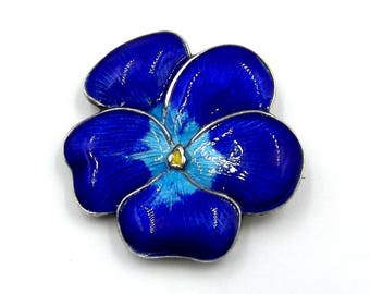 Sterling Silver Blue Enamel Pansy Brooch | Antique Guilloche Flower Pin