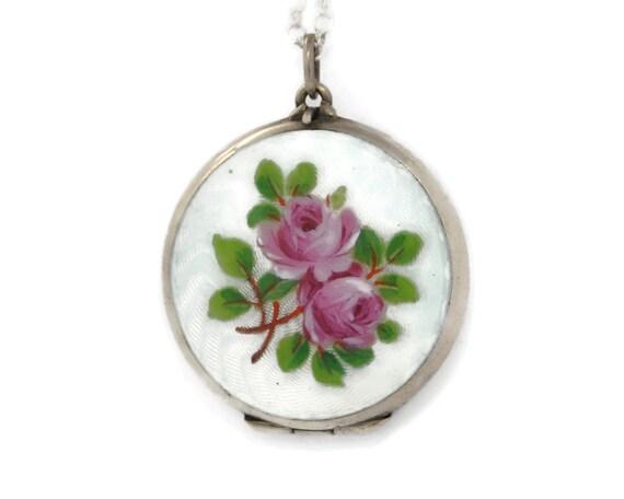 Antique Guilloche Enamel & Silver Locket Necklace