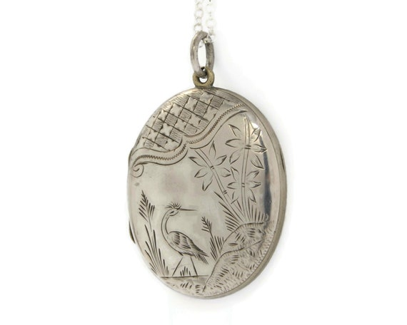 Large Sterling Silver Victorian Locket