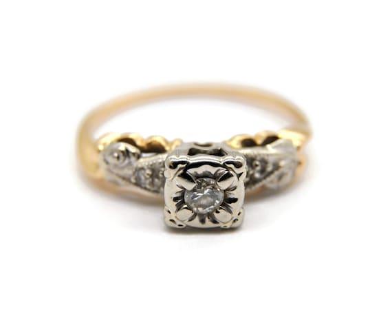 Antique 15ct Gold & Platinum Diamond Ring   UK siz