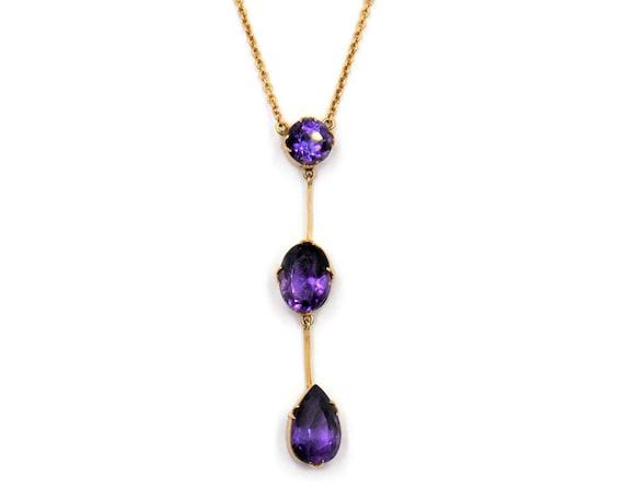 Antique 9ct Gold & Amethyst Drop Necklace   Edward