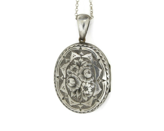Large Sterling Silver Victorian Locket Necklace