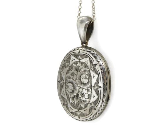 Large Sterling Silver Victorian Locket Necklace - image 3