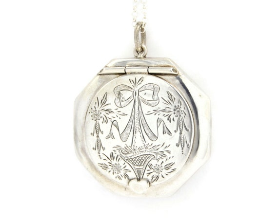 Sterling Silver Chatelaine Compact Locket Necklace