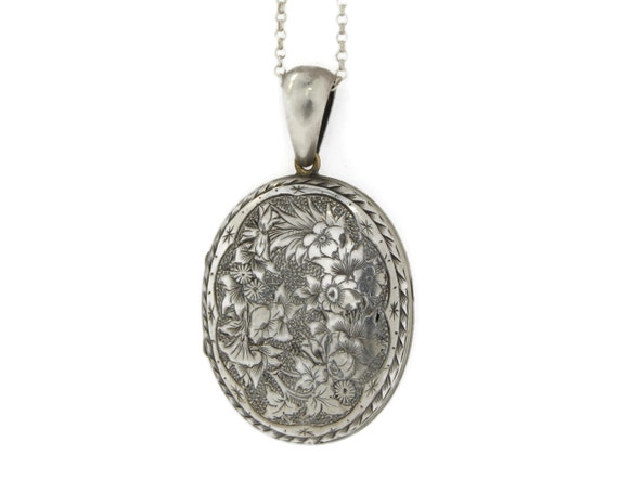 Large Sterling Silver Victorian Locket Necklace - image 2