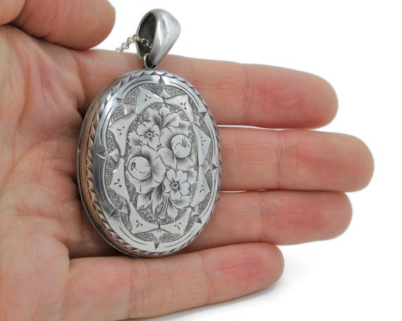Large Sterling Silver Victorian Locket Necklace - image 6