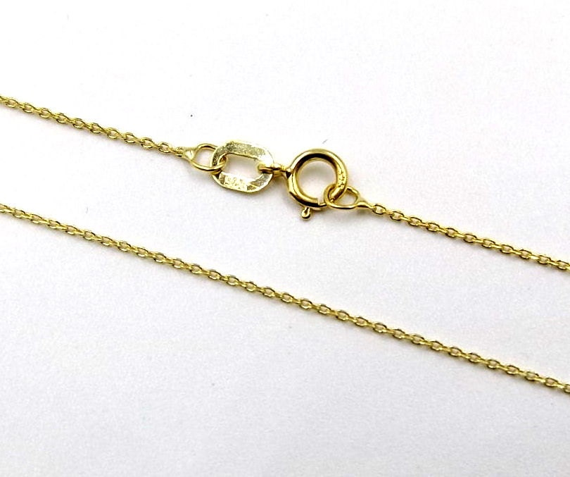 """375 9CT SOLID GOLD 18/"""" FINE OVAL BELCHER CHAIN TRACE PENDANT NECKLACE GIFT BOX"""