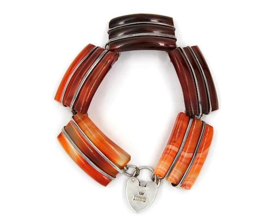 Victorian Silver Scottish Agate Bracelet | Antique