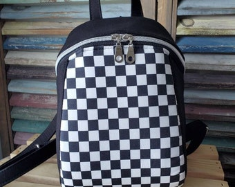 Checkered Backpack, Black and White Check Backpack