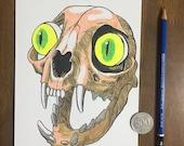 Cat Skull with Eyes - Ori...