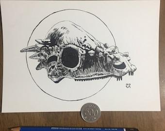 Pachycephalosaurus Skull - Original Drawing