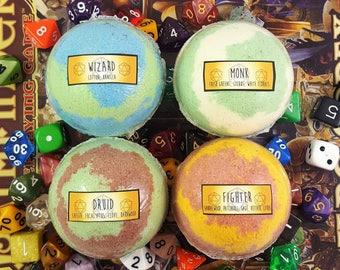 Party Two - Set of FOUR 6 oz  Bath Bombs - RPG Class Set - Handmade Bath Bomb Fizzy