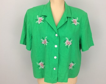 Kelly Green Shirt Embroidered Blouse Top Womens Shirts Boxy Size 16 Short Sleeve Floral Bouquet Linen Shirt 1X Plus Size Womens Clothing