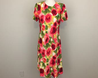 Romantic Floral Dress Rose Print Short Sleeve Roses Garden Party Womens Dress Pink Green Size 10 Petite Clothing Medium Womens Clothing