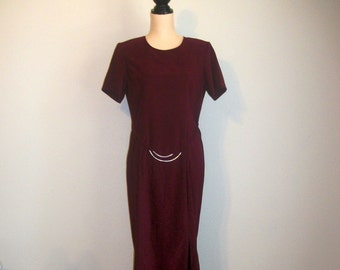 Vintage 80s Minimalist Wool Blend Strong Shoulder Fit n Flare Midi Dress