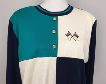 856894fc75efb 90s Long Sleeve Top Preppy Nautical NWTS Clothing New Vintage Green Navy  Blue White Color Block 1990s Plus Size Vintage Size 18 Women