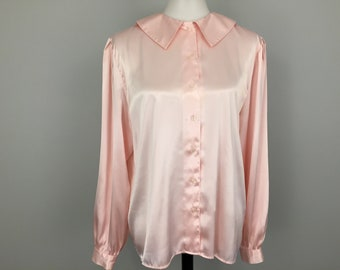 08bbd9cd494 Dressy Blouse Soft Pink Liquid Satin Long Sleeve Suit Blouse Light Pink  Womens Large Plus Size XL Womens Clothing Romantic Round Collar