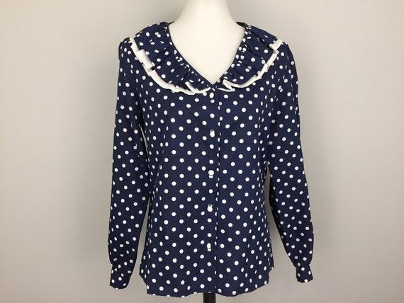Navy Blue Polka Dot Blouse 70s Ruffled Collar Secr