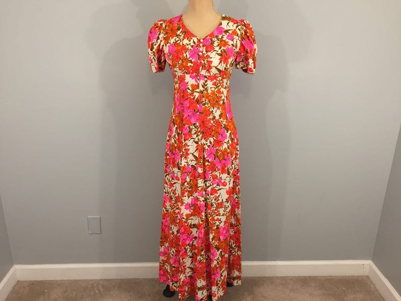 b23965e23a76 Colorful 50s 60s Summer Dress Floral Maxi Small Womens Medium | Etsy