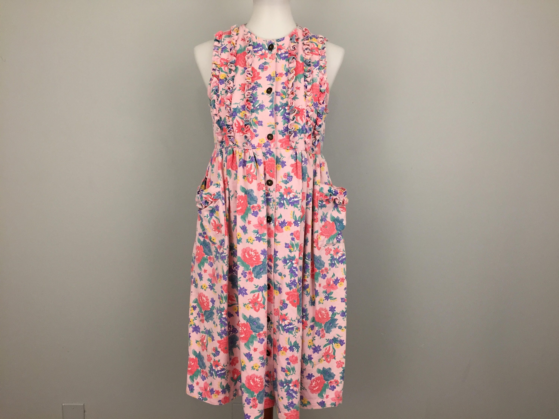 4543ebd00f8fa7 Womens Pullover Kleid Floral Denim ärmellosen rosa Blumen