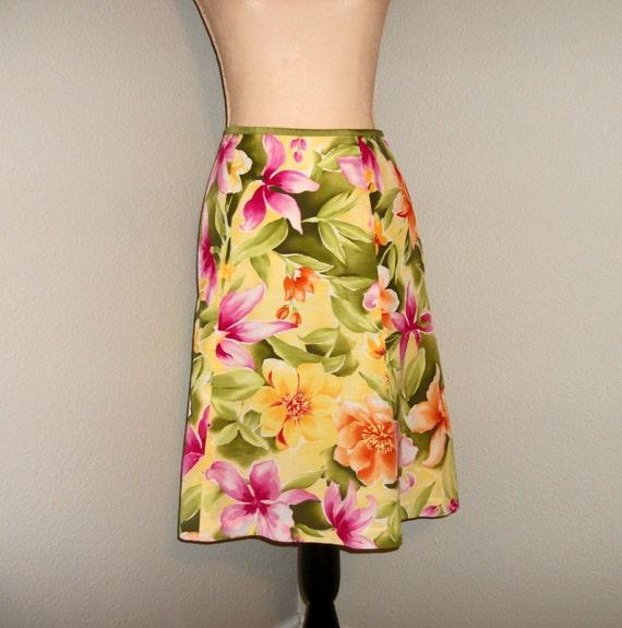 127ddd5b542a Hawaiian Skirt Bright Floral Luau Tropical Clothing Medium