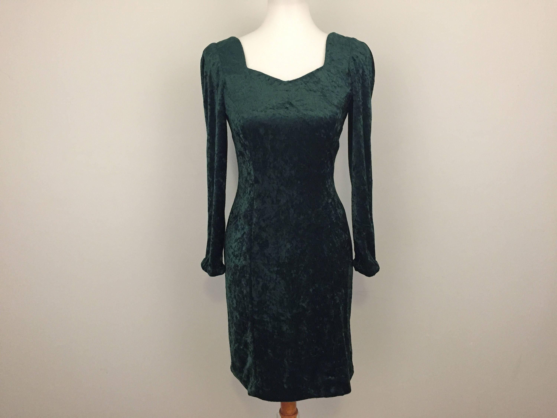 Green Crush Velvet Dress Grunge 80s Open Back Long Sleeve  43d01a2af