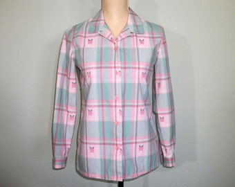 Vintage Plaid Shirt 80s Long Sleeve Womens Shirts Floral Pink Green Pastel Petite Clothing Medium Vintage Clothing 1980s Womens Clothing