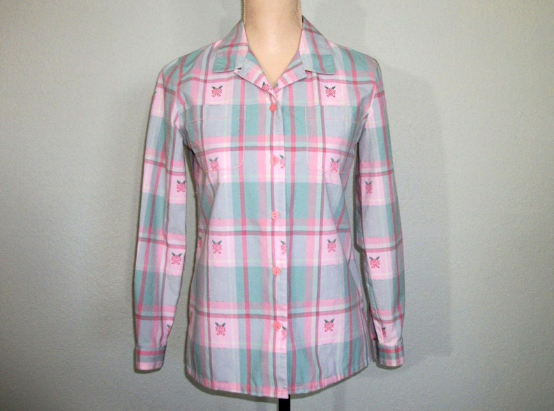 de802658 Vintage Plaid Shirt 80s Long Sleeve Womens Shirts Floral Pink | Etsy