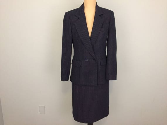 Navy Blue Suit Womens Skirt Suit Wool Blend Size 6 Winter Etsy