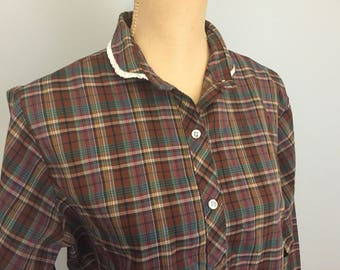 70s Womens Plaid Shirt Womens Plaid Top Long Sleeve Button Up Large XL Shirt Maroon Fall Plus Size Womens Clothing 1970s Vintage Clothing